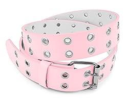 Belle Donne - Women's Double Grommet Leather Belt -L Pink/S(30