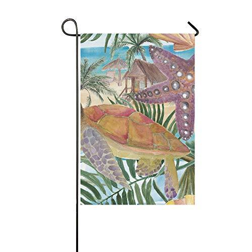 (Home Dekorative Outdoor-Fahne, doppelseitig, Ozean, Strand, Schildkröte, Seestern, Palmenblätter, Garten, Garten, Hof, Dekoration, saisonale Willkommensflagge, 30,5 x 45,7 cm, Frühlingssommer-Geschenk)
