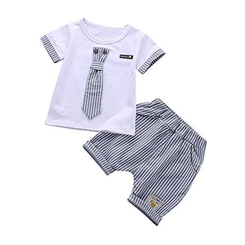 Bonjouree Shorts Hauts Garçon T-Shirt Mancehs Courtes avec Cravate Et Shorts Ensembles Ete pour Enfant Garçon 1-3 Ans (Blanc, 3 Ans)