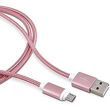kwmobile Nylon Cable Micro USB universal- adecuado para Samsung Galaxy S6 / S6 Edge / S5 / S4, Sony Xperia Z2 / Z3 / Z4, LG G2 / G3 / G4 - 2 m rosa