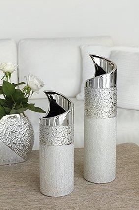 Keramik Vase Grace 1 Stück L 10 x B 10 x H 30 cm Champagner-Silber