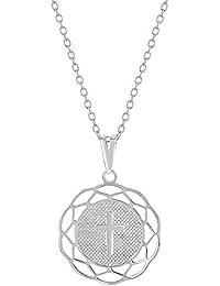 4e0e6e79093e Plata de ley 925 cruz Medalla Colgante Collar para niños niña ...