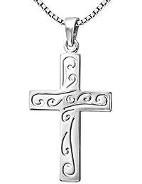 Baby Taufe Kinder Jugend Kommunion Firmung Kreuz Anhänger mit Kette Silber 925