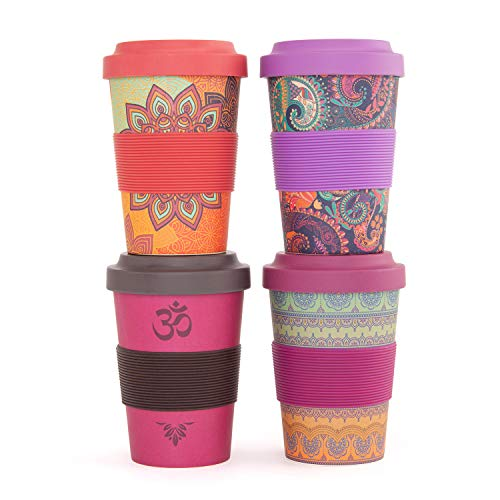 "YogiCup2Go, Bambus Coffee-to-go-Becher mit Print""Indian Ornaments"", Bamboo-Cup als Mehrweg-Tasse für unterwegs, mit Silikon-Manschette und Schraubdeckel, 480 ml Fassungsvermögen"