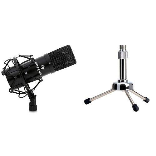 Auna MIC-900B USB Kondensator Mikrofon für Studio-Aufnahmen inkl. Spinne (16mm Kapsel, Nierencharakteristik, 320Hz - 18KHz) schwarz + Pronomic MST-5S Tisch-Mikrofonständer (mit Reduziergewinde, ideal für Poadcasting, geeignet für Großmembranmikrofone mit Spinne) silber Bundle