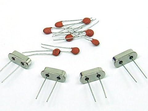 Just-Honest - KIT: 4 x Oscillateur à quarz / Quartz Crystal 8Mhz + 8 x Condensateur céramique 22 pF, MCU ARDUINO AVR #A51