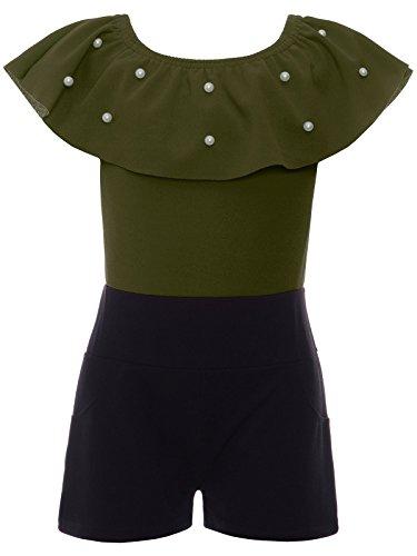 BEZLIT Jumpsuit Mädchen Overall Onesie Schulterfrei Einteiler 22688, Farbe:Olivegrün, Größe:164