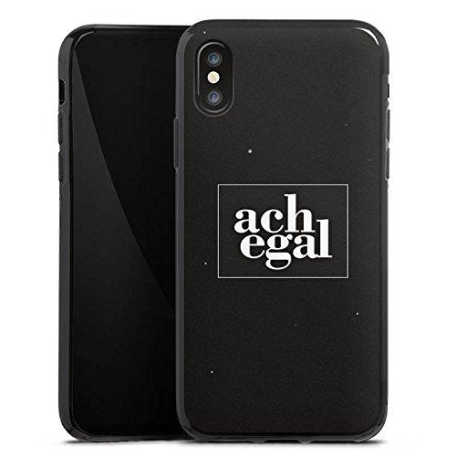 Apple iPhone X Silikon Hülle Case Schutzhülle Sprüche Ach egal Schwarz Silikon Case schwarz