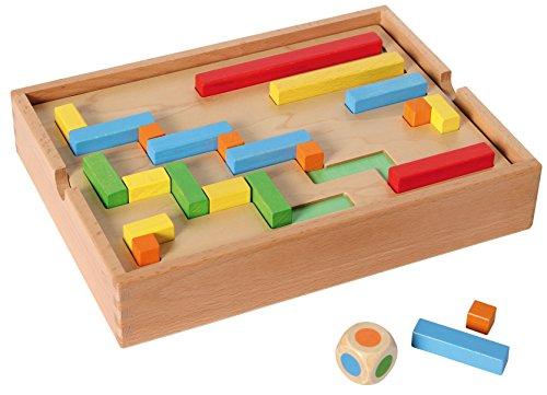 Bartl 111323 Lege- und Zuordnungsspiel aus Holz mit Farbwürfel. Trainiert spielerisch den Umgang mit Abmessungen und Größen