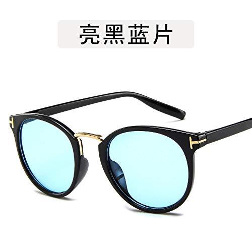 Yangjing-hl Brillengestell Metall Metall vielseitige Sonnenbrille Persönlichkeit Brille runde Rahmenform Leuchtend schwarzen und blauen Tabletten