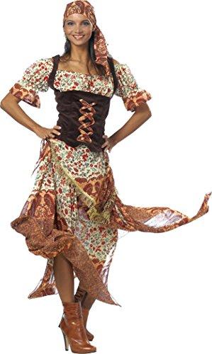 Zigeunerin Kostüm braun-beige für Damen | Größe 42 | 2-teiliges Wahrsagerin Kostüm für Karneval | Tänzerin Faschingskostüm für (Ideen Kostüm Bauchtänzerin)