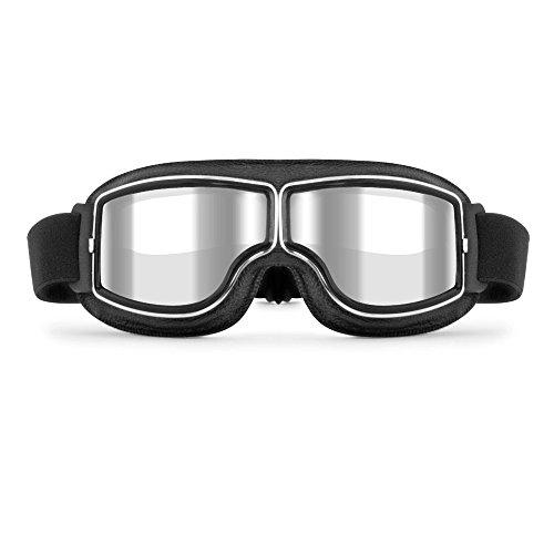 LEAGUE&CO Klassisch PU Leder Motorradbrille Schutzbrille Raf Aviator Vintage Pilot Biker Cruiser...