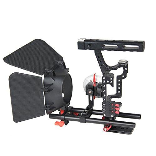 elegantstunning in Lega di Alluminio Gabbia Fotocamera stabilizzatore Video Video Cage Kit con Matte Box e Follow Focus per Sony A7A7II A7R A7S II Nero + Rosso