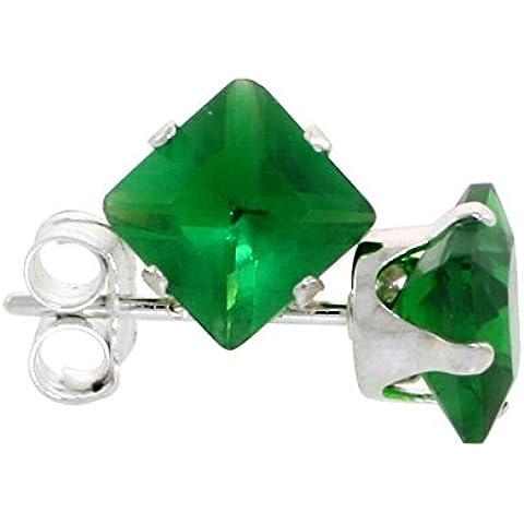 In argento Sterling, colore: verde smeraldo, 3/4 di carato, taglio a principessa, 5 mm-Orecchini a lobo con zirconia cubica