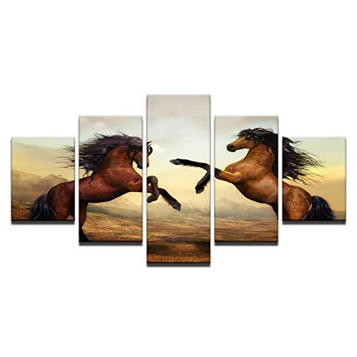 RQMQRL Leinwand Gemälde Home Decor Wandkunst Rahmen 5 Stücke Sonnenuntergang Braun Pferde Bilder Für Wohnzimmer Hd Druckt Tier Poster