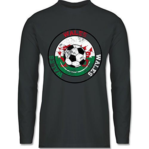 EM 2016 - Frankreich - Wales Kreis & Fußball Vintage - Longsleeve / langärmeliges T-Shirt für Herren Anthrazit