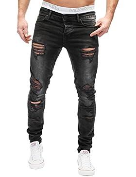 MERISH Herren Jeanshose Cutted Destroid Look Not Patched Chino Skinny Fit Jeans Hose Neu Trend J2046b