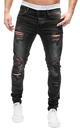 MERISH Herren Jeanshose Cutted Destroid Look Not Patched Chino Skinny Fit Jeans Hose Neu Trend J2046b