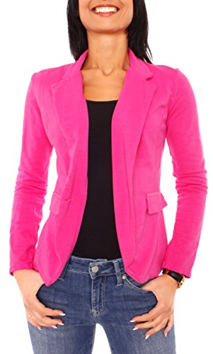 Damen Sommer Sweat Jersey Blazer Jacke Sweatblazer Jerseyblazer Sakko Kurz Ungefüttert Langarm Uni Einfarbig Pink XS - 34 (S)