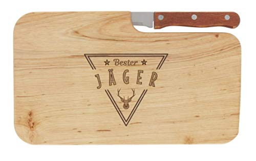 Brotzeitbrett Jausenbrett Holz Erle Messer Bester Jäger Geschenk Männer Schneidbrett Holz Geschenkidee für Ihn