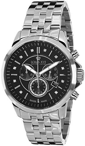 LOUIS XVI Herren-Armbanduhr Aramis Stahlband Silber Schwarz echte Diamanten Chronograph Analog Quarz Edelstahl 908