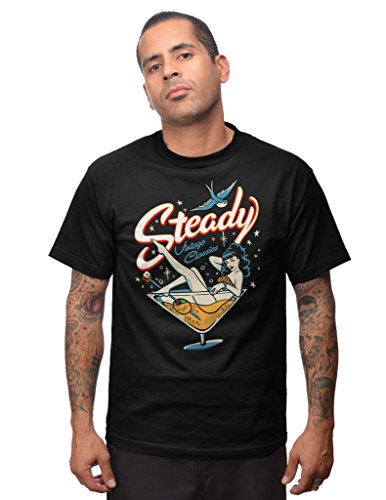 STEADY CLOTHING Steady Tee T-Shirt Homme, Noir, FR : M (Taille Fabricant : m)