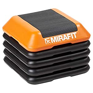 Mirafit Deluxe Einstellbarer Studio-Stepper 40cm – Trittbrett in Schwarz/Orange