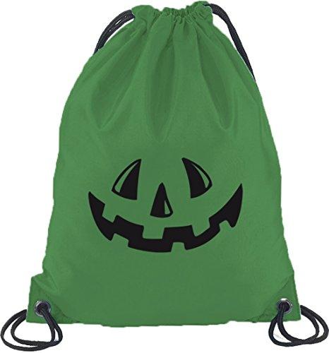Halloween Grusel Kostüm Turnbeutel Rucksack Sport Beutel mit Halloween - Kürbis Gesicht Motiv Kelly Green