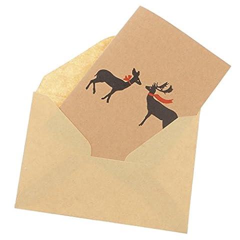 Gazechimp 50x Weihnachts Rentier Grußkarte Danksagungskarte Geburtstagkarte & Umschlag