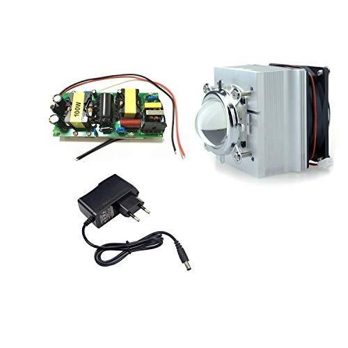 Tesfish DIY 100W führte Fahrer + kühler + Objektiv mit Reflektor Kollimator + Ventilatorfahrer für hohe Leistung LED wachsen helles LED Licht (Kühlkörper System) -