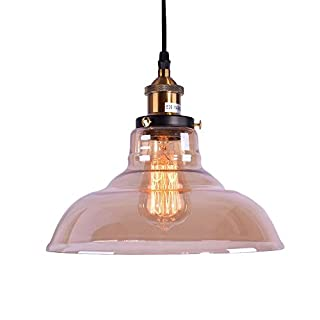 Lingkai Industrial Vintage Style Light Fitting Glass Ceiling Light Pendant Lamp Shade Lighting for Kitchen