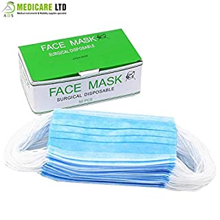 Surgical Face Masks with Earloop 3 Ply, Pack of 50 Masks (Blue)