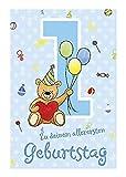 Depesche 5698.001 - Glückwunschkarte mit Musik, 1. Geburtstag, blau