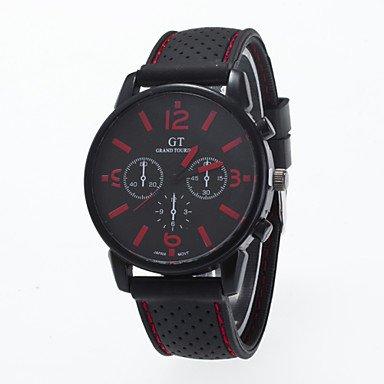Fashion Watches Schöne Uhren, 2016 Ankunft Modernen Sport Freizeit Mannarmbanduhr Silikonband Armbanduhr Mann (Farbe : Rot, Großauswahl : Einheitsgröße)