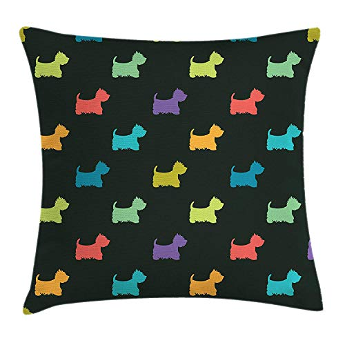 KAKICSA Dog Lover Throw Pillow Cushion Cover, Colorful Dog Silhouettes West Highland Terriers Canine Cartoon Style Animal Fun, Decorative Square Accent Pillow Case, 18 X 18 inches, Multicolor -
