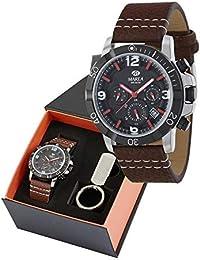 Pack Reloj Marea Hombre_Correa Piel marrón+Llavero_B41209/20