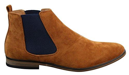 Bottines Chelsea homme simili daim sans lacets design italien style mi-chevilles chic décontrac
