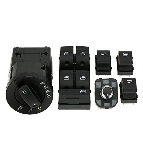 Kkmoon 6pcs OEM auto faro controllo elettrico finestrino Master interruttore specchietto retrovisore manopola di regolazione interruttore di controllo kit