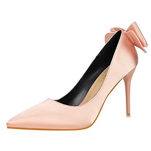 Schuhe Pink Mit seide Aalardom Spitz Schleife Ziehen Auf Stiletto Pumps Zehe Damen Rein PzP78