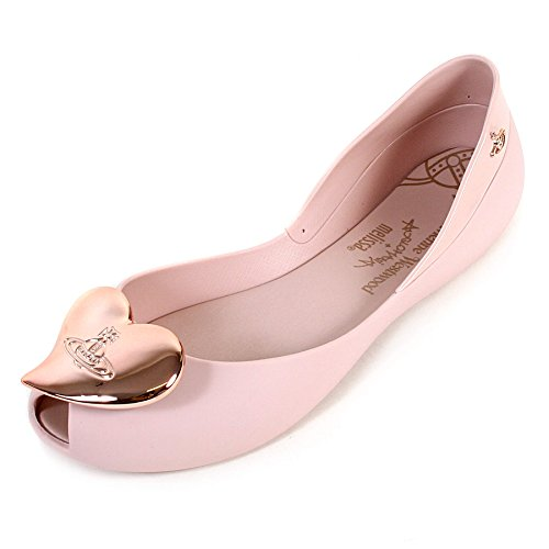 Melissa + Vivienne Westwood VW Queen 17 Rose with Rose Heart Flat Shoes UK 3 (EUR 35/36)