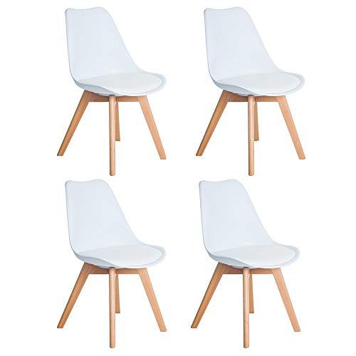 DORAFAIR Pack 4 sillas escandinava Estilo nórdico Silla de Comedor, con Las...