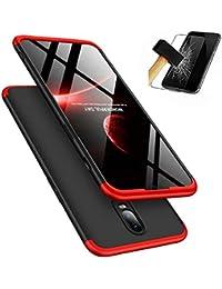 Coque OnePlus 6 + Verre Trempé, LaiXin 360 Protection Integrale Housse Anti Rayure Étui Ultra Rigide Léger Couverture Anti-Choc Full-Cover Case pour OnePlus 6, Rouge+Noir