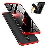 OnePlus 6T Handyhülle, LaiXin OnePlus 6T Hülle mit Tempered Glas Schutzglas 360 Grad Case Schutzhülle PC Plastik Cover Kratzfeste Stoßdämpfende Bumper - Rot/Schwarz