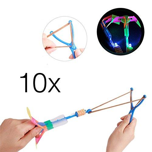 10x LED helicóptero Shoot obsequios, dispositivo de vuelo, helicóptero,, centrifugado LED Shooter, Juguete para Niños, LED cohete para niños y niñas/niños Cumpleaños/Fiesta/Artículo de broma.