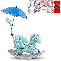 Rocking chair ☝YY Caballo Mecedora del Juguete plástico de Kids, Multifuncional con la Silla Mecedora del bebé del Paraguas del Amortiguador (Color : Green, Tamaño : E)