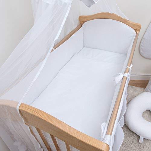 Baby Comfort Bettumrandung für Babybetten, gepolstert, 70 x 140 x 420cm, einfarbig, Weiß