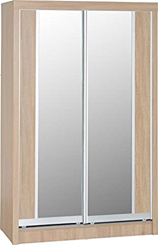 Seconique Lisbon 2-Door Sliding Wardrobe, Wood, Light Oak Effect