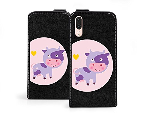 etuo Huawei P20 - Hülle Flip Fantastic - Violette Kleine Kuh - Handyhülle Schutzhülle Etui Case Cover Tasche für Handy