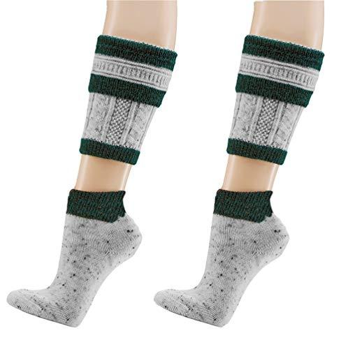 krautwear 2 Paar Herren Trachtenstrümpfe Trachtensocken Loferl 2tlg (Wadenwärmer + Socken) Tweedgarn mit 30% Wolle Wärmend Trachtenmode Oktoberfest Karneval (grün-43-46-2x)