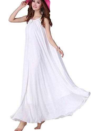 DELEY Damen Sommer Boho Ärmellos Chiffon Unifarben Strand Cocktail Party Kleid (Größe 36-40) Weiß